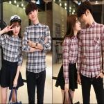 PRE-ORDER เสื้อเชิ้ตคู่รักเกาหลีใหม่ เสื้อเชิ้ตผ้าฝ้ายแขนยาวลายสก๊อต ญ/ช.เสื้อเชิ้ตแขนยาว