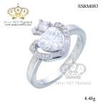 แหวนทองคำขาว ประดับเพชร CZ แหวนหัวใจประดับเพชรกลมขาวเม็ดโตๆ ขอบหัวใจล้อมเพชรเม็ดเล็กๆ ประกายแวว วาวงามจับใจ