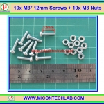 10x สกรูหัวกลม M3 ยาว 12 มม. +น็อตตัวเมีย (M3* 12mm Screws)(M)