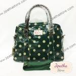 กระเป๋า Chalita wu สายหนัง สีเขียวเข้ม ลายจุด