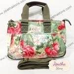 กระเป๋า Chalita wu + สะพาย ทรงกระโปรง สีเขียว ลายดอกไม้