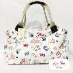 กระเป๋าถือ สะพายไหล่ Chalita wu สีขาว ลายลูกโลก