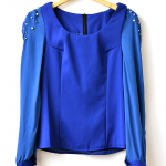 Blue Embroidery Blouse (Size S)
