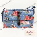 กระเป๋าสะพาย Chalita wu ทรงแบนขาดเข็ดขัด สีฟ้า ลายดอกไม้