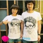 เสื้อคู่รัก ชุดคู่รัก เสื้อคู่ เสื้อยืดคู่รักผ้าฝ้าย สีขาว ลายคนใส่แว่น