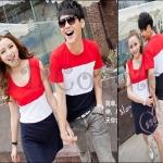PRE-ORDER ชุดคู่รักน่ารัก เกาหลีใหม่เนื้อผ้าฝ้ายผ้ายืดลายทางสีแดง ญ.เดรสสั้น/ช.เสื้อยืดแขนสั้น