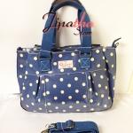 กระเป๋า Chalita wu + สายสะพาย ทรงกระโปรงใบใหญ่ สีน้ำเงิน ลายจุด