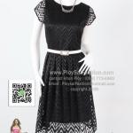 bw279 - ชุดเดรสทำงานผ้าลูกไม้สีดำ จับจีบช่วงกระโปรง สวยเรียบร้อยค่ะ