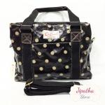 กระเป๋า Chalita wu + สะพาย 3 ซิป สีดำ ลายจุด
