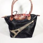 กระเป๋าลอมชอม ไซส์กลาง ปักลายปารีส สีดำ