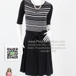 bw263 - ชุดเดรสขาวดำ (สำหรับสาวตัวเล็ก) ผ้าเกาหลีทูโทนพิมพ์ลายช่วงตัวเสื้อ แขนสามส่วน ซับในช่วงกระโปรง สวยๆค่ะ