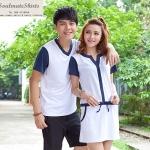 เสื้อคู่ เสื้อคู่รัก ชุดคู่รัก เสื้อคู่รักเกาหลี เสื้อผ้าแฟชั่น ผู้ชายเสื้อยืดคอกลม+ผู้หญิงเดรสแขนสั้น สีขาว แต่งแขนและคอสีกรมท่า