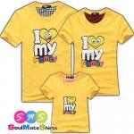 เสื้อครอบครัว ชุดครอบครัว เสื้อ พ่อ แม่ ลูก ลาย I LOVE FAMILY สีเหลือง ผลิตจากผ้าฝ้ายคุณภาพสูง