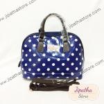 กระเป๋า Chalita wu + สายสะพาย โค้ง สีน้ำเงิน ลายจุด