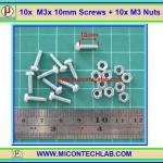 10x สกรูหัวกลม M3 ยาว 10 มม. +น็อตตัวเมีย (M3* 10mm Screws)(M)