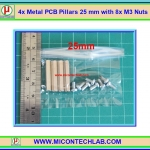 4x เสารองแบบเหลี่ยม 25 มม. 8x สกรู M3 (Pillars 25 mm)