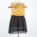 f028-45-50-เดรสสาวอวบนิดๆ ผ้าไหมสปันสีเหลืองไพรพิมพ์ลายดอก แต่งระบายช่วงอก ดีไซส์เว้าหลัง&ผูกโบว์ ช่วงกระโปรงผ้าซีฟองสีดำพร้อมซับใน รอบอก 38 - 46 นิ้ว