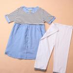 เสื้อให้นมแฟชั่นเกาหลี มาพร้อมกางเกงเลคกิ้ง สีขาว อินเทรนด์ ด้วย เสื้อลายขวาง ตัดกับสีฟ้าในตัวเสื้อ น่ารักคะ