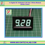 1x Digital DC Voltmeter 0-30 Vdc 3 Wires 0.56 Inch Module (Green Color)