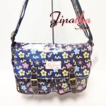 กระเป๋าสะพาย Chalita wu สีน้ำเงิน ลายดอกไม้