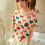เสื้อแฟชั่นเกาหลี เสื้อชีฟองลายหัวใจ