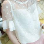 เสื้อแฟชั่นเกาหลี แขนสามส่วน มี2ชั้น เสื้อชั้นนอกเป็นผ้าลูกไม้ บริเวณไหล่-แขนเป็นซีทรูลายจุด เสื้อตัวในเป็นซับในชีฟอง แขนเป็นระบายชีฟอง