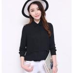 Pre-Order เสื้อเชิ้ตชีฟอง สีดำ (ไซส์ S,M,L,XL)
