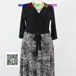 f1880 - ชุดขาวดำ ไซส์ใหญ่ ผ้าเกาหลี เดรสทูโทนแขนสามส่วน ช่วยเสื้อดีไซน์ป้าย ช่วงกระโปรงพิมพ์ลายขาวดำ รอบอก 38 - 46 นิ้ว