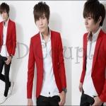 พร้อมส่ง เสื้อสูทแฟชั่นแบบใหม่ เสื้อสูทสีแดงเข้ารูปทรงสวย #SizeM