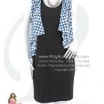 hd1383 - เดรสสั้นหรู ชิ้นในผ้าเกาหลีสีดำ ชิ้นนอกสไตล์เสื้อคลุมผ้าเกาหลีพิมพ์ลายตารางสีน้ำเงิน-ขาว ซับในทั้งตัว สวยหรูดูดีค่ะ