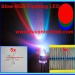5x RGB Slow Flashing Rainbow LED Super Bright 5mm + 5x Resistor 220 Ohm 1/4W 1%