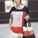 เสื้อแฟชั่นเกาหลี สีสันสดใส โทนสีส้ม กรมท่า แขนเสื้อปล่อยอิสระ สำเนา