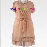 f014-45-50-เสื้อผ้าคนอ้วน ใส่ทำงาน ใส่ไปงาน เนื้อผ้าซีฟองสีเนื้อ แขนระบาย จับจีบด้านหน้า ซับในทั้งตัว ผ้าผูกเอวแยกชิ้น รอบอก 46 นิ้ว