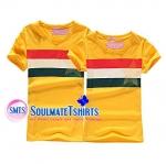 เสื้อคู่ เสื้อคู่รัก ชุดคู่รัก เสื้อยืดคู่รัก ผู้ชาย +ผู้หญิง เสื้อยืดคอกลมสีเหลือง ผลิตจากผ้า cotton 100%