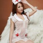 Pre Order / ชุดพยาบาลสีขาว เนื้อซีทรู