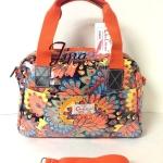 กระเป๋าถือ+สะพาย Chalita wu สีส้ม ลายหางนกยูง