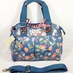 กระเป๋า Chalita wu + สายสะพาย สีฟ้า ลายดอกไม้