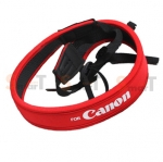 Canon White on Red Neck Strap Neoprene
