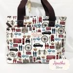 กระเป๋า 5 ซิปใบใหญ่ Chalita wu สีขาว ลายลอนดอน