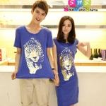 ชุดคู่ เสื้อคู่ เสื้อคู่รัก ชุดพรีเวดดิ้ง ชุดคู่รัก เสื้อคู่รักเกาหลี เสื้อผ้าแฟชั่น ผู้ชาย เป็นเสื้อคอกลม สีน้ำเงิน สกรีนช่วงอก เท่ห์มากๆคะ ผู้หญิง เป็นเดรสแขนสั้น ทรงตรง สีน้ำเงิน สรีนสีทองช่วงอก