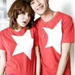 เสื้อคู่รัก ชุดคู่รัก เสื้อคู่ เสื้อยืดคู่รักผ้าฝ้าย สีแดง, สกรีนลายดาว 5 แฉก สีขาว