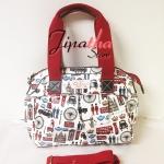 กระเป๋า Chalita wu + สายสะพาย สีขาว ลาย ลอนดอน