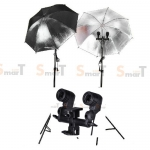Light Set with 2 Set Day light Lamp E27 Bulb x2 Dual Holder With Umbrella
