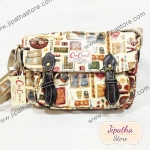 กระเป๋าสะพาย Chalita wu สองเข็มขัด สีครีม ลายวินเทจ