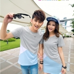 เสื้อคู่ เสื้อคู่รัก ชุดพรีเวดดิ้ง ชุดคู่รัก เสื้อคู่รักเกาหลี เสื้อผ้าแฟชั่น ผู้ชาย เสื้อยืดคอกลม สีเทาคาดฟ้า + ผู้หญิง เป็นเดรสแขนสั้น สีเทาคาดฟ้า เข้ารูป ถ่ายพรีเวดดิ้งได้สวยงามมากๆคะ