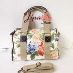 กระเป๋าทรงหมอน Chalita wu + สายสะพาย สีครีม ลายดอก