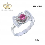 แหวนเงินแท้ ประดับ เพชรCZ แหวนโบว์ประดับพลอยรูปทรงกลมเหลี่ยมเกสรสีชมพู ดีไซน์ระดับไฮโซ งานสวยเก๋ แบบไม่ซ้ำใคร