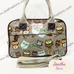 กระเป๋า Chalita wu + สะพาย 2 ซิป สีเทา ลายนกฮูก