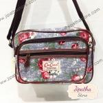 กระเป๋าสะพาย Chalita wu สีเทา ลายดอกไม้