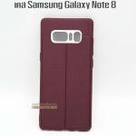 Case Samsung Note 8 สี แดง ลายหนัง